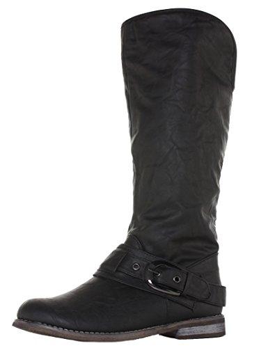 style-9-black-size-3-womens-winter-biker-pirate-style-low-flat-heel-calf-leg-knee-boots