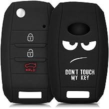 kwmobile Funda de silicona para llave de 3-4 botones para coche Kia - cover de llave - key case Diseño Don't touch my Key en blanco negro