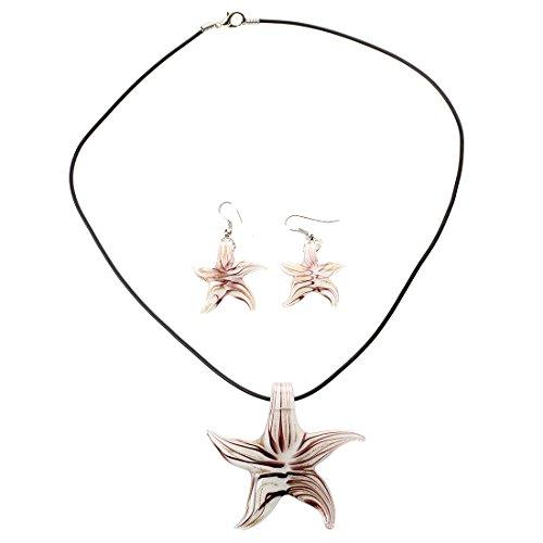 SODIAL(R) Conjunto Collar Pendientes Cristal de Murano Estrella Mar