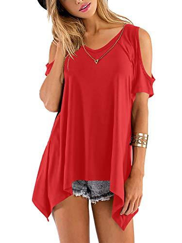 Schulterfrei unregelmäßige Tunika Top Shirt Rot Gr.42-44 ()