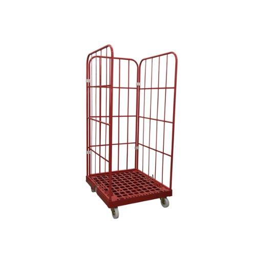 Rollbehälter 1450 mm 3 seitig rot (Rollwagen Gitter)