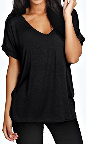 Womens Oversize Fit V Neck Top Ladies Baggy Plus Size Batwing Casual T Shirt sizes 8-24 (XL UK 16-18, Black)