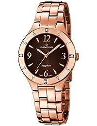 4298c3f98375 Candino Reloj Mujer de Cuarzo con Esfera Marrón Pantalla Analógica y Oro  Rosa Pulsera de Acero