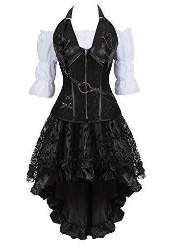 Kostüm Raffinierte - Grebrafan Steampunk Neckholder Corsage Kostüm mit asymmetrischer Spitzenrock und Bluse - für Karneval Fasching Halloween (EUR(36-38) L, Schwarz)