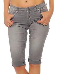 c392faad091d M.O.D Damen Capri Jeans Shorts Ulla Dreiviertel Hose Dezenter Glanz-Effekt