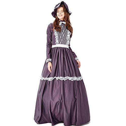 Lady Soul Ghost Kostüm - Chengzuoqing-CL Halloween Damenkostüme Retro Gericht Kleid Lady Dress Farm Kleid Dark Purple Masquerade Party Prinzessin Kleid Party anziehen (Farbe : Lila, Größe : L)