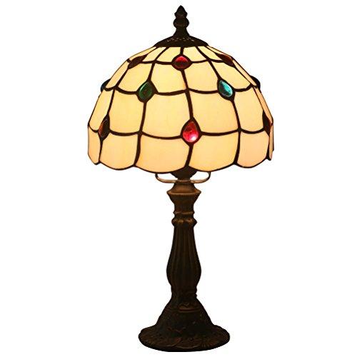 FABAKIRA Tischlampe E27 Tiffany Tisch Bernstein Tischlampe Nachttisch 8 Zoll -
