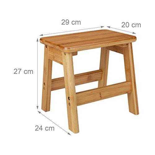 Meilleure offre de prix Relaxdays Tabouret Repose-Pieds Bambou Rustico Table Console Bois guéridon Petit Tabouret Enfant HxlxP: 27 x 29 x 24 cm, Nature