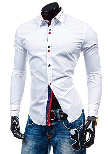 BOLF Herren Langarm Herrenhemd Figurbetont Freizeit Slim Casual 5826 Weiß