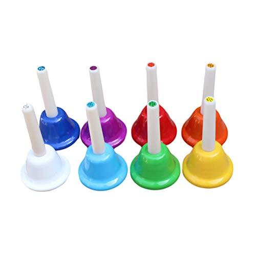 8 stücke Octave Schule Handbells Bunte Hand Glocke Schlaginstrument Lehrmittel für Kinder Lehrer Studenten