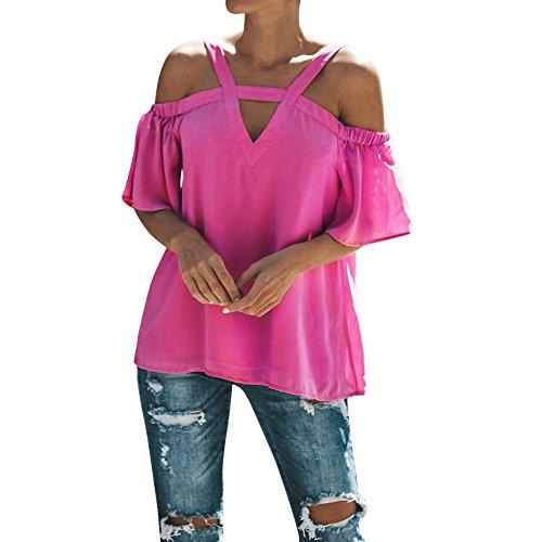iHENGH Damen Sommer Top Bluse Bequem Lässig Mode T-Shirt Blusen Frauen Womens Cold Off Schulter Tops T-Shirt V Ausschnitt Kurzarm Sommer Top Bluse(Pink, M) -