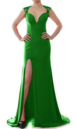 MACloth Women Mermaid Prom Gown V Neck Jersey Long Formal Evening Gown with Slit Green