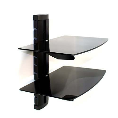 Tempered Black Glass Floating Shelf Wall Mount For Consoles/DVD players/TV Accessories M&W (2 Tier)