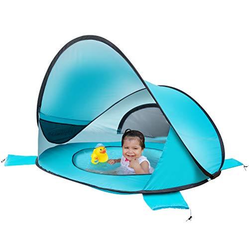 WolfWise UPF 50+ UV Schutz Strandmuschel, Pop Up Baby Sonnenschutz Strandzelt, Selbstaufbauend Schutzzelt Strandschirm Sonnenschirm, Tragbar Blau