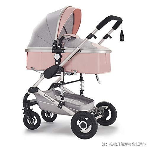 DGDD Vierrad-Kinderwagen mit Einhand-Klappgriff, Kinderwagen-Buggy, schmaler Klapp-Leichtgewichtler mit Baldachin-Reise-Buggy, höhenverstellbarer Schiebegriff,pink
