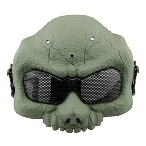 YxFlower Taktische Maske, Halbe Gesichtsmaske Softair/Halloween/Cosplay/Schädel/Motorrad für Nerf Airsoft Paintball - Grün