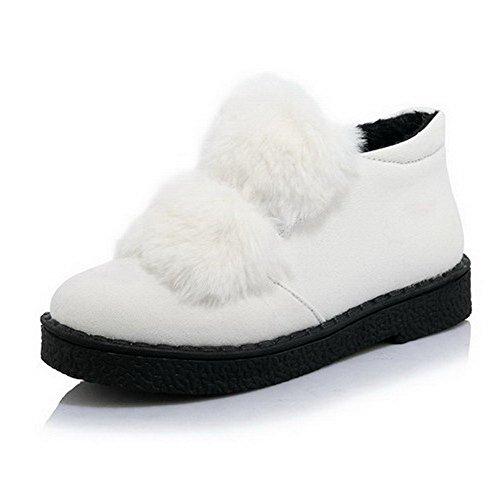 AllhqFashion Damen Niedriger Absatz Weiches Material Rein Ziehen Auf Rund Zehe Pumps Schuhe Weiß