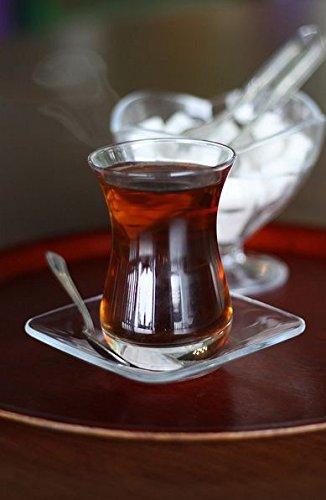 Topkapi - 18-TLG Türkisches Tee-Set Mehtap-Sultan, 6 Teegläser, 6 Untersetzer, 6 Teelöffel, Komplett-Set Garten Tee-set