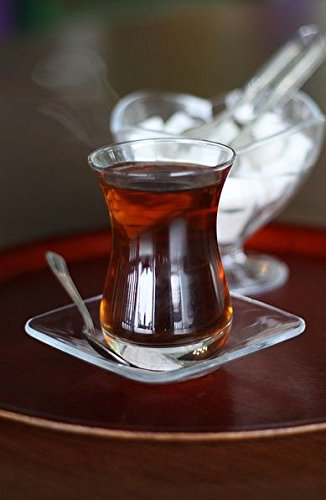 Topkapi - 18-TLG Türkisches Tee-Set Mehtap-Sultan, 6 Teegläser, 6 Untersetzer, 6 Teelöffel, Komplett-Set