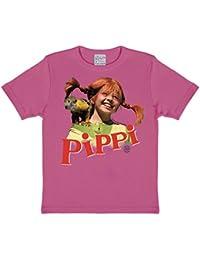 b82d60a74 Logoshirt Pippi Calzaslargas y Señor Nilsson Camiseta para Niña - Rosa - Diseño  Original con Licencia