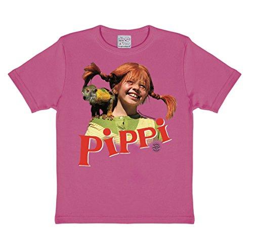 Logoshirt Pippi Langstrumpf - Herr Nilsson T-Shirt Kinder Mädchen - Pink - Lizenziertes Originaldesign, Größe 92/98, 2-3 Jahre