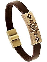 be51cc20513f43 BOBIJOO Jewelry - Armband Echtes Leder Braun Fleur de LYS Lilie  Templer-Metall-Stahl
