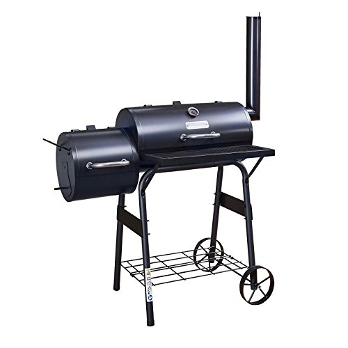 Fire Mountain American Style Drum Barbecue | Charcoal Smoker with Wheels and Temperature Gauge