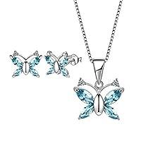 Aurora Tears Butterfly Jewelry Set London Blue Crystal Pendant Necklace Stud Earrings for Women Girls DS0037B