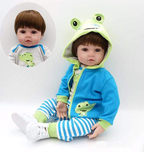 Minsong 48cm Baby Boy Doll,real Looking Newborn Lifelike Reborns Toddler with Frog Clothes Children Xmas Birthday Gift