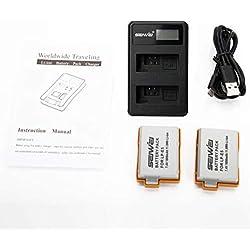Kit 2 x LP-E5 Batterie 1080mAh LCD USB Double du Chargeur pour Canon EOS 1000D pour 450D 500D 1000D Digital Rebel Xsi Charger (Noir)