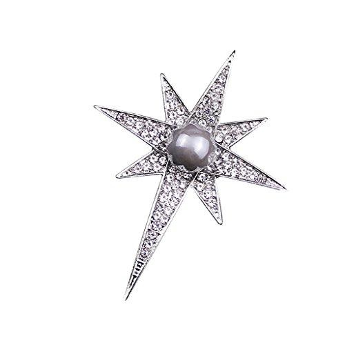 Baoblaze Österreich Kristall Strass Stern Brosche Abzeichen Anzug Tuch Clip Anstecknadel - Silber