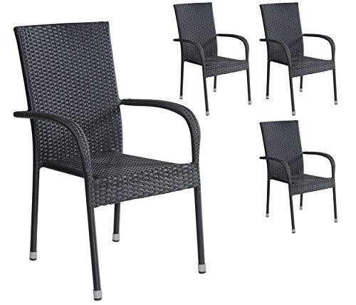Terrasse, Stapelbar (4er Set Stapelstühle Armlehnstühle Gartenstühle in schwarz mit Armlehnen exkl. Auflage stapelbar für Garten, Terrasse, Balkon oder Bistro - Gartenmöbel Stühle Terrassenstuhl Balkonstuhl Stuhl Gastro)