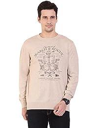 TAB91 Men's Cotton Rich Beige Round Neck Pullover