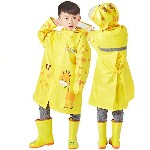 AN Kinder Regenmantel Jungen Regenmantel Kindergarten Big Hat Schüler Kind Baby Mädchen Tasche Poncho (Color : Gelb, Größe : M)