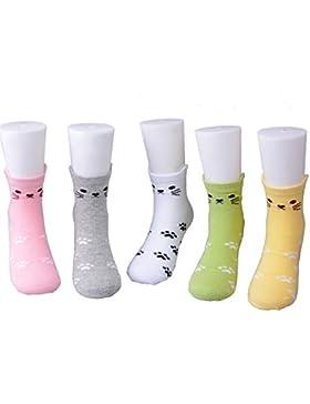 Kinder Mädchen Baumwollsocken mit niedlichen Tier Art Knöchelsocke 5 Packung