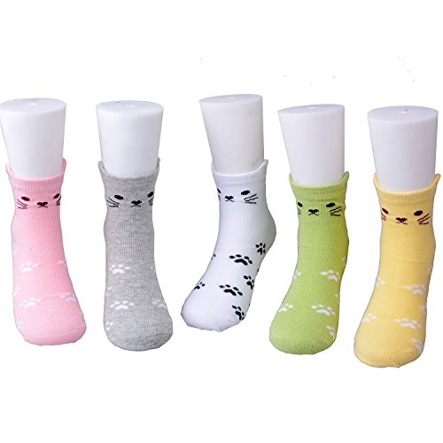 Girls Cotton Socks Kids Novelty Cat Seamless Pack of 5 (Face in Front and Back)