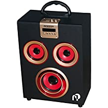 Infiniton Sound Box W07 - Sistema de altavoces 2.1 (radio FM, Bluetooth, USB), color negro y rojo