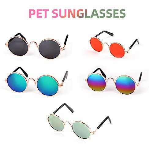 Festnight Haustier Katze Brille Klassisch Retro Rund Stilvolle Hundebrille Sonnenbrille UV-Schutz für Katzen Kleine Welpen