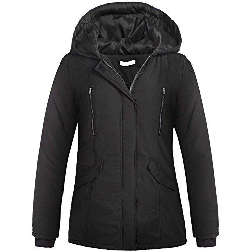 ZEARO Mantel Jacke Damen Wintermantel Steppmantel Winterjacke mit Kapuze Parka Übergangsjacke Outwear Gr.M-XXXL Schwarz
