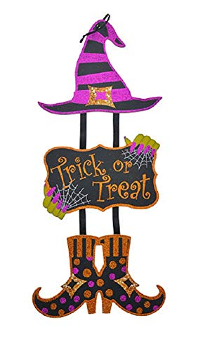 A&T Designs Deko-Wandschild, Motiv: Hexe, glitzernd, für Halloween, Partys