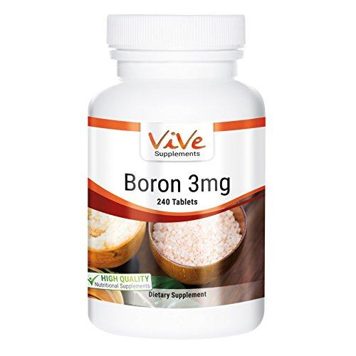 Bor 3mg - Boron - 240 Tabletten - Reinsubstanz - Großpackung - Spurenelement für eine normale Knochendichte und gesunde Gelenke sowie ein gutes Gedächtnis