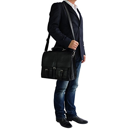 manbefair FAIR TRADE Öko Leder Aktentasche George Messenger Laptoptasche Umhängetasche Lehrertasche (Schwarz) 43x30x20 cm (BxHxT) Schwarz