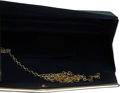 Donne Faux Suede frizione borsa busta Metallic Frame Plain Design - Navy Navy