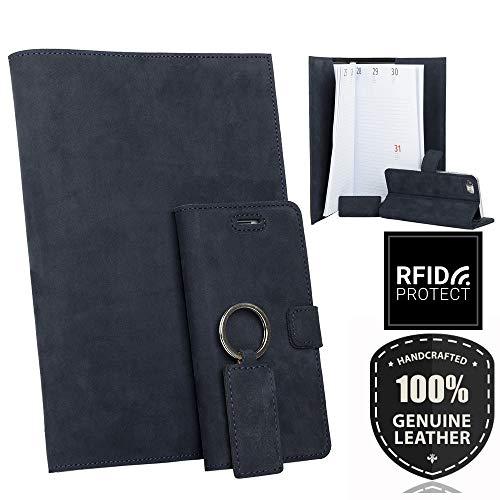 SURAZO Leder Geschenkset - Handy Schutzhülle, Kalender, Schlüsselring aus Echtesleder Nubuk Farbe Blau für Huawei P9 Lite Mini / Y6 Pro 2017