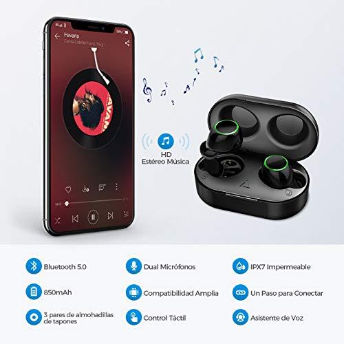 【Nuevo Versión】 Auriculares Inalambricos Bluetooth 5.0,  Auriculares Bluetooth Deportivos IPX7 Impermeable,  21H Autonomía, Auriculares con Micrófonos Dual para iPhone Android Mpow/Seneo(Sub- Marca)