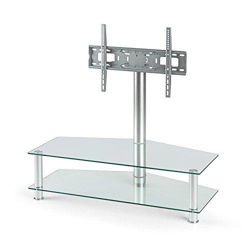 Auna FAVS19 Soporte de televisión y Home Cinema • TV Plano, Plasma y LCD • 94-127 cm (37-50') • Capacidad 50 kg • Montaje Universal en Pared • Estantes de Cristal de Seguridad • Aluminio • Metalizado