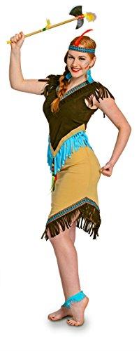 Folat 63318 Frauen Indianerkostüm Damen 2-teilig Wild West, L, Braun, Blau, L (Mama 2 Perücke)