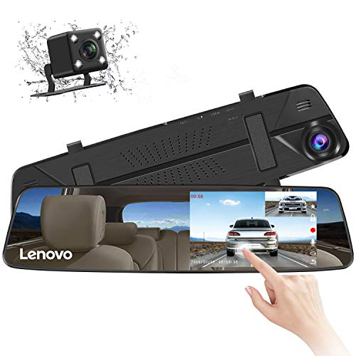 Lenovo Mirror Dash Cam, Backup Camera Mirror, Mirror Dash Screen, 4.39 Inch Screen Rearview Front and Rear Dual Lens HR06B