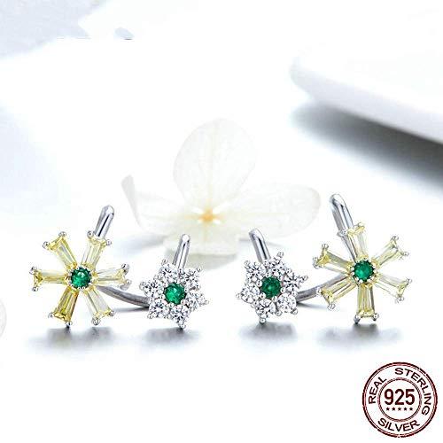 S-PJZ Sterling Silber Ohrringe Blume Clip Ohrringe für Frauen Schmuck, Ohrring, a - Platin-geld-clip