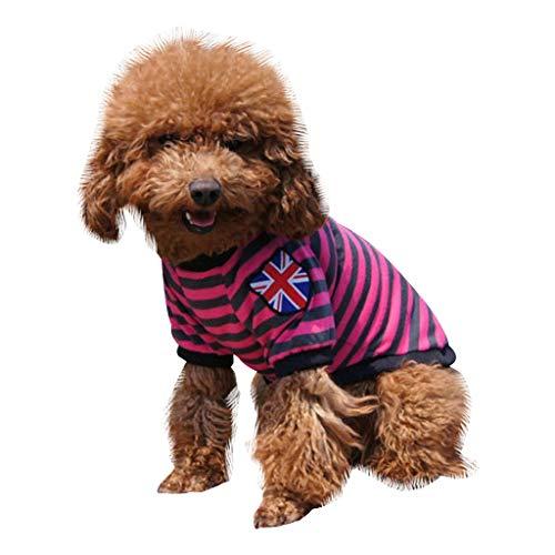 Yowablo Haustier-Hundewelpen-Katzen-Streifen-Druck kleidet Strickjacke-Kostüm-Mantel-Kleid (M,1- Rot)